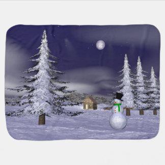Netter Schneemann in der Nacht Babydecken