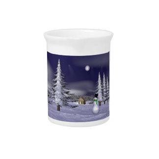 Netter Schneemann in der Nacht Getränke Krüge
