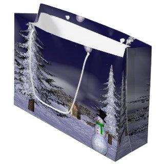 Netter Schneemann in der Nacht Große Geschenktüte