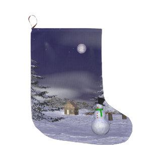 Netter Schneemann in der Nacht Große Weihnachtsstrümpfe