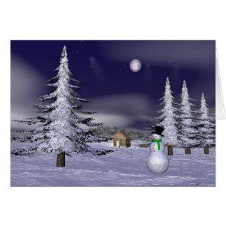 Netter Schneemann in der Nacht Grußkarte