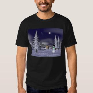 Netter Schneemann in der Nacht Hemden