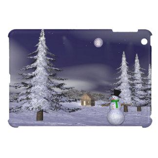 Netter Schneemann in der Nacht iPad Mini Hülle
