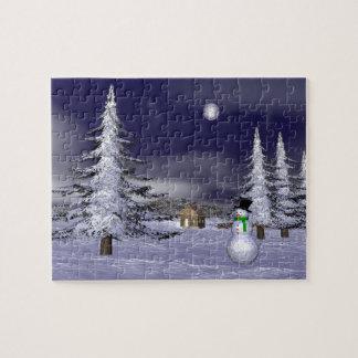 Netter Schneemann in der Nacht Jigsaw Puzzles