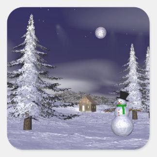 Netter Schneemann in der Nacht Quadratischer Aufkleber