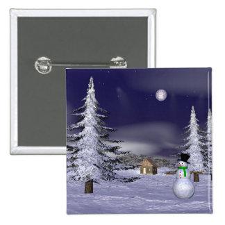 Netter Schneemann in der Nacht Quadratischer Button 5,1 Cm
