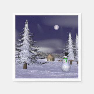 Netter Schneemann in der Nacht Serviette