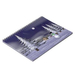 Netter Schneemann in der Nacht Spiral Notizbuch