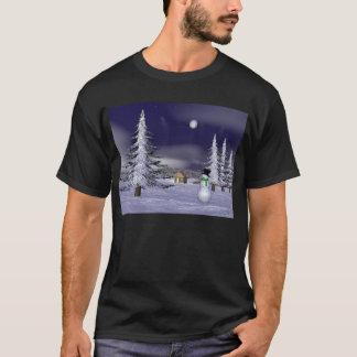Netter Schneemann in der Nacht T-Shirt