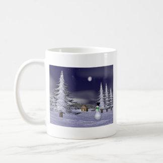 Netter Schneemann in der Nacht Tasse