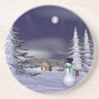 Netter Schneemann in der Nacht Untersatz
