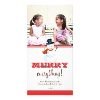 Netter Schneemann rotes weißes Weihnachtsfeiertags Photo Karte