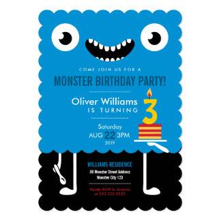 Nettes blaues Monster-Kindergeburtstag-Party laden 12,7 X 17,8 Cm Einladungskarte