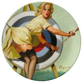 Nettes Bogenschießen geschossen - Retro Button Porzellanteller