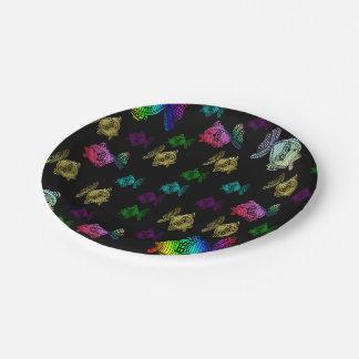 nettes buntes gemaltes reizendes Muster der Fische Pappteller