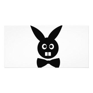 nettes Kaninchen mit Bogen-Krawattenikone Photogrußkarten