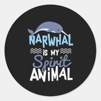 Nettes Narwhal ist mein Geist-Tierdruck Runder Aufkleber