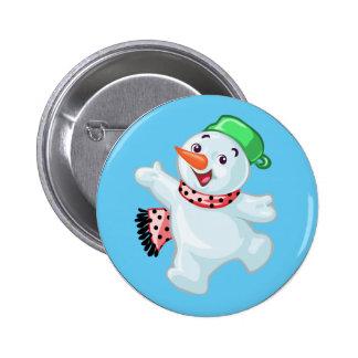 Nettes Snowman-Knopf-Abzeichen Runder Button 5,7 Cm