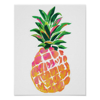 "Nettes tropisches Ananas-Plakat - 11"" x 14"" Poster"