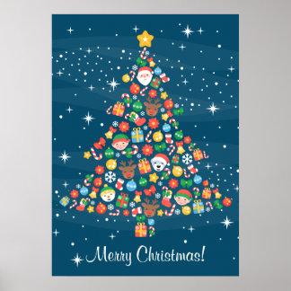 Nettes Weihnachtsbaum-Muster auf Blau Poster