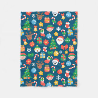 Nettes Weihnachtsmuster auf Blau Fleecedecke