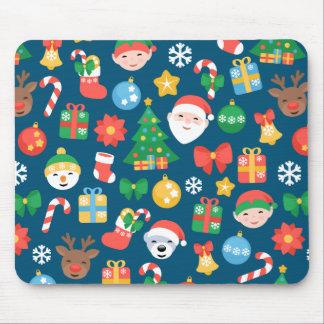 Nettes Weihnachtsmuster auf Blau Mauspads