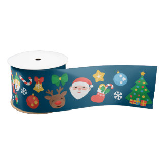 Nettes Weihnachtsmuster auf Blau Satinband