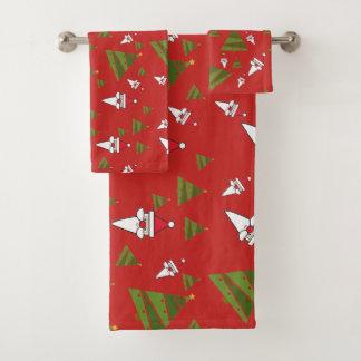 Nettes Weihnachtsmuster Badhandtuch Set