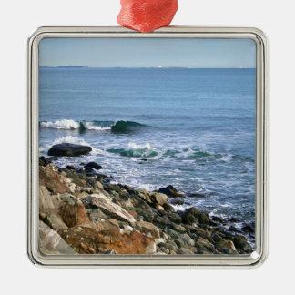 Neu-England Brandung Quadratisches Silberfarbenes Ornament