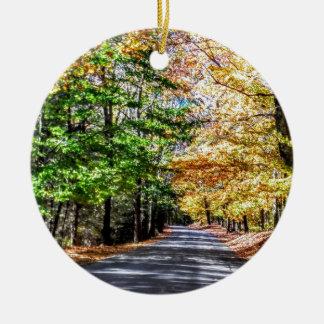Neu-England Fall Rundes Keramik Ornament