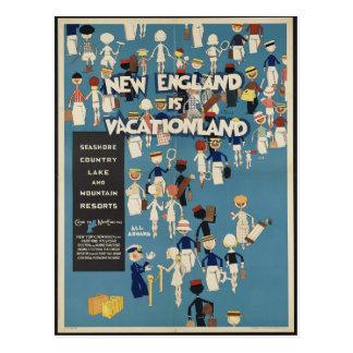 Neu-England ist Vacationland VintageTravel Postkarte