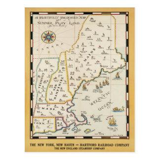 Neu-England Karten-Reise-Plakat-Postkarte Postkarte