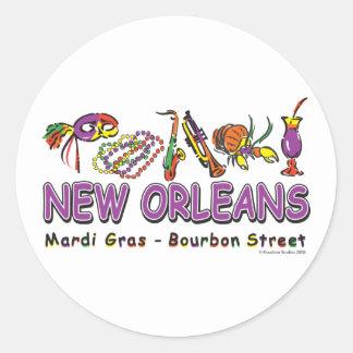 Neu-Orleans-Spaß Runder Aufkleber