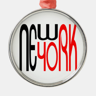 Neu-York-Schwarz-Rote Typografie Silbernes Ornament
