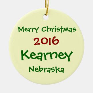 NEUE 2016 KEARNEY NEBRASKA FROHE KERAMIK ORNAMENT