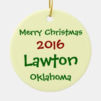 NEUE 2016 LAWTON OKLAHOMA FROHE KERAMIK ORNAMENT