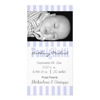 Neue Baby-Blau-und weißegestreifte Foto-Karte Bilderkarten