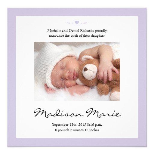 Neue Baby-Gedicht-Geburts-Mitteilung lila Individuelle Einladungskarte