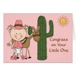 Neue Baby-Mädchen-und Pony-Glückwünsche - Western Grußkarte
