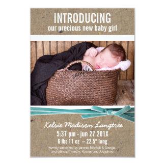 Neue Baby-Mitteilung mit großem Foto 8,9 X 12,7 Cm Einladungskarte