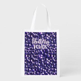 Neue Beerenillustration des BlaubeerPowers Wiederverwendbare Einkaufstasche