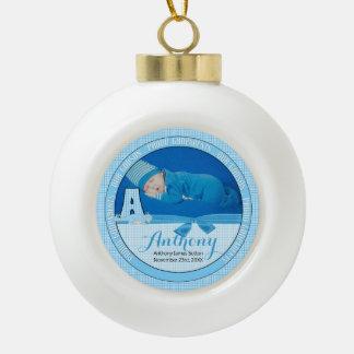 Neue Godparents-blaues Gingham-Baby-Monogramm A Keramik Kugel-Ornament