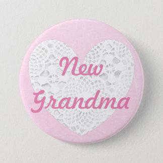 Neue Großmutter, die rosa Spitzen- Knopf prahlt Runder Button 7,6 Cm