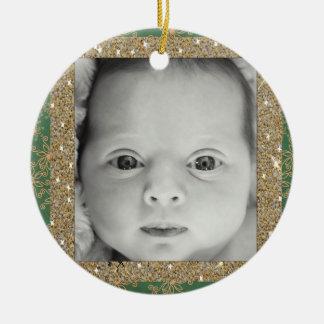 Neue Grün und Goldverzierung babys Weihnachts Keramik Ornament