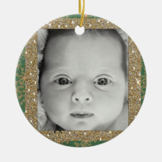 Neue Grün und Goldverzierung babys Weihnachts Rundes Keramik Ornament
