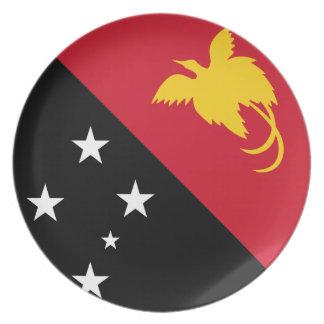 Neue guineische Flagge Papuas Teller