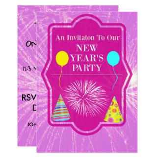 Neue Jahre Party-mit Feuerwerk-Hintergrund Karte