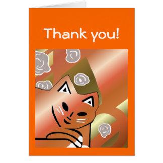 Neue orange metallische Katzen-Kunst danken Ihnen Karte