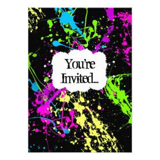 Neue Retro Neonfarben-Spritzer-Party Einladung