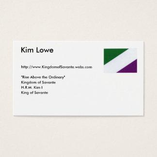 Neue Savantian Flagge, Kim Lowe, Visitenkarte